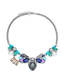 Charming Multicolor Diamond Decorated Simple Design Alloy Bib Necklaces