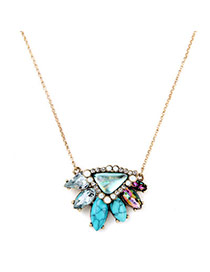 Retro Multicolor Triangle Gemstone Pendant Decorated Simple Desgin Alloy Chains