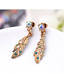 Retro Green&gold Color Diamond Decorated Feather Shape Design Alloy Stud Earrings