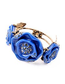 Retro Blue Flower Decorated Simple Design Alloy