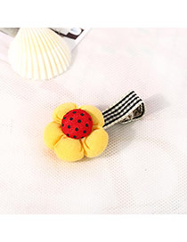 Fashion Yellow&red Dot Pattern Decorated Flower Design Fabric Hair clip hair claw
