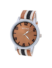 Concise Coffee&Black Stripe Pattern Decorated Simple Design Alloy Men's Watches