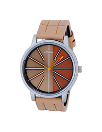 Bardian Khaki Stripe Pattern Decorated Color Matching Design  Alloy Men's Watches