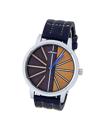 Bardian Navy Blue Stripe Pattern Decorated Color Matching Design  Alloy Men's Watches