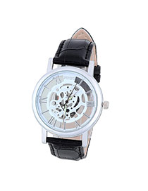 Bardian Black&silver Color Roman Numerals Decorated Hollow Out Design Alloy Men's Watches