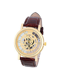 Bardian Coffee&gold Color Roman Numerals Decorated Hollow Out Design