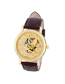 Retro Coffee&gold Color Roman Numerals Decorated Hollow Out Design Alloy Men's Watches