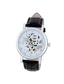 Bardian Black&silver Color Roman Numerals Decorated Hollow Out Design