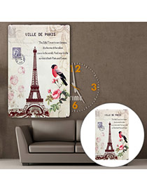 Nostalgic Multicolor Eiffel Tower Pattern Decorated Simple Design  Iron Household goods