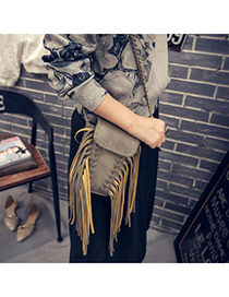 Personalized Gray Tassel Decorated Weave Design