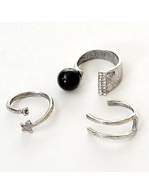 Fashion Antique Silver Pearl Decorated Simple Design  Alloy Korean Rings