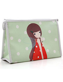 Sweet Green Little Girl Pattern Simple Design Pu Home Storage Bags