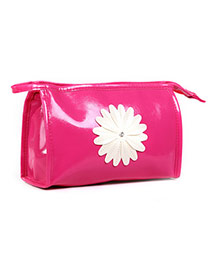 Fashion Plum Red Sunflower Decorated Pure Color Design  Pu Home Storage Bags