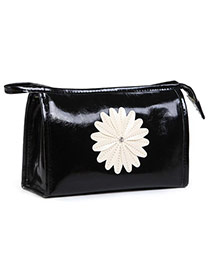 Fashion Black Sunflower Decorated Pure Color Design  Pu Home Storage Bags