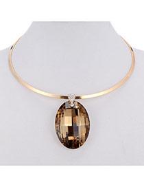 Charming Yellow Oval Diamond Pendant Decorated Simple Design