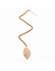 Retro Gold Color Leaf Pendant Decorated Simple Design Alloy