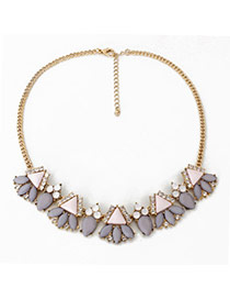 Bohemian Gray Gemstone Decorated Simple Design Alloy Bib Necklaces