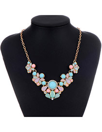 Sweet Multicolor Gemstone Decorated Simple Design Alloy Bib Necklaces