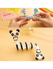 Sweet Black&white Panda Pattern Decorated Flexible Design  Silicon Cord Fixer