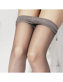 Sexy Gray Thin Pure Color Simple Design  Core Spun Yarn Fashion Stockings