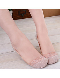 Sweet Pink Dots Pattern Decorated Lace Design  Cotton Fashion Socks