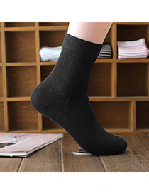 Classic Black Thick Pure Color Simple Design  Cotton Fashion Socks