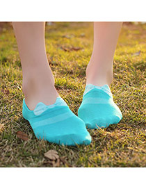 Sweet Blue Bowknot Decorated Simple Design Cotton Fashion Socks