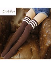 Classic Coffee+white Stripe Pattern Decorated Knee-high Design