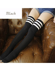 Classic Black+white Stripe Pattern Decorated Knee-high Design  Cotton Fashion Socks