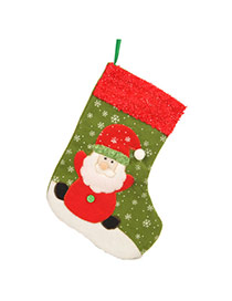 Personalized Green Santa Claus Pattern Decorated Socks Shape Design