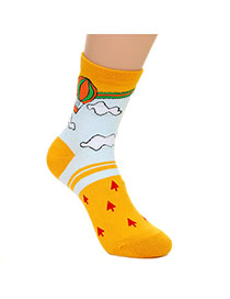 Lovely Yellow Thick Fire Balloon Pattern Decorated Simple Design  Cotton Fashion Socks