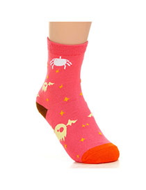 Lovely Watermelon Red Thick Bat Pattern Decorated Simple Design  Cotton Fashion Socks