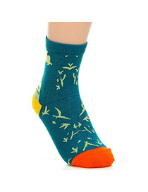 Lovely Dark Green Thick Bat Pattern Decorated Simple Design  Cotton Fashion Socks