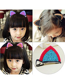 Sweet Plum Red+blue Cat Ears Shape Decorated Simple Design Fabric Kids Accessories
