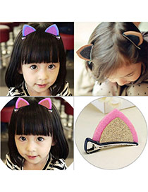 Sweet Pink+gold Color Cat Ears Shape Decorated Simple Design Fabric Kids Accessories