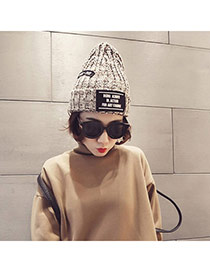 Casual Beige Letters Decorated Weave Design Wool Knitting Wool Hats