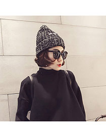 Casual Black Letters Decorated Weave Design Wool Knitting Wool Hats
