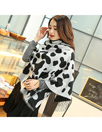 Fashion Black Speckle Pattern Simple Design  Woolen Yarn knitting Wool Scaves