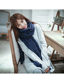 Fashion Blue Houndstooth Pattern Simple Design  Woolen Yarn knitting Wool Scaves