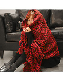 Fashion Red Houndstooth Pattern Simple Design  Woolen Yarn knitting Wool Scaves