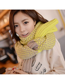 Fashion Fluorescent Green Color Matching Simple Design  Woolen Yarn knitting Wool Scaves
