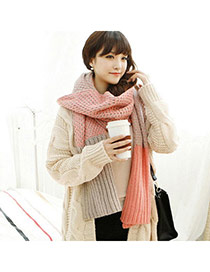 Fashion Pink Color Matching Simple Design  Woolen Yarn knitting Wool Scaves