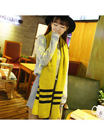 Fashion Yellow Stripe Decorated Simple Design  Imitation Cashmere knitting Wool Scaves