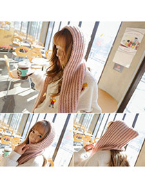 Fashion Pink Hat Shape Decorated Weave Design  Woolen Yarn knitting Wool Scaves