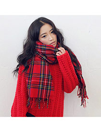 Fashion Red Grid Pattern Simple Design  Imitation Cashmere knitting Wool Scaves
