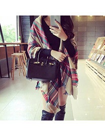 Fashion Multi-color Grid Pattern Simple Design  Woolen Yarn knitting Wool Scaves