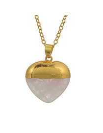 Personality Gold Color Heart Shape Stone Pendant Decorated Simple Design Stone Chains