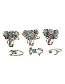 Retro Silver Color Elephant Head Decorated Simple Design(6pcs)  Alloy Korean Rings