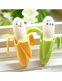 Personality Yellow+green Smiling Face Pattern Decorated Banana Shape Design