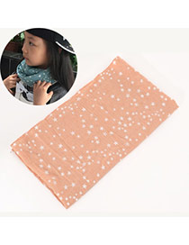 Pretty Light Pink Star Pattern Decorated Simple Design  Cotton Thin Scaves